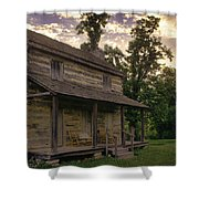 Log House Dusk Shower Curtain