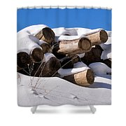 Log Pile In A Snow Drift In Winter Shower Curtain