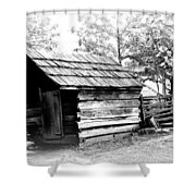 Log Shed Shower Curtain