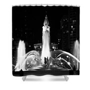 Logan Square Fountain At Night In Black And White Shower Curtain
