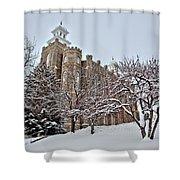 Logan Temple Winter Shower Curtain
