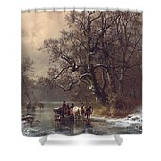 Loggers On A Frozen Waterway Shower Curtain