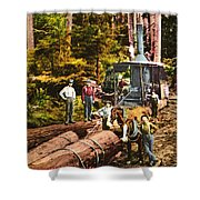 Logging With Steam Donkey Engine Near Olympia Washington Circa 1900 Shower Curtain