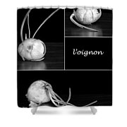 Onion Kitchen Art - L'oignon - Black And White Shower Curtain