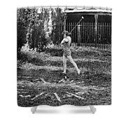 London Bathers Play Clock Golf Shower Curtain