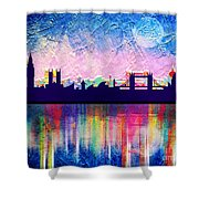 London In Blue  Shower Curtain