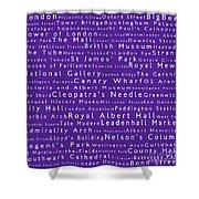 London In Words Purple Shower Curtain