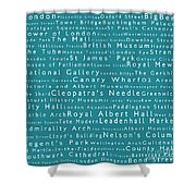 London In Words Teal Shower Curtain