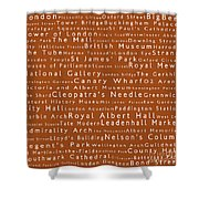 London In Words Toffee Shower Curtain