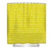 London In Words Yellow Shower Curtain