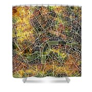 London Map Brown Shower Curtain