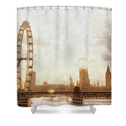London Skyline At Dusk 01 Shower Curtain by Pixel  Chimp