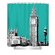London Skyline Big Ben - Teal Shower Curtain