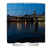 London Skyline Reflecting In The Thames River At Night Shower Curtain