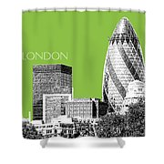 London Skyline The Gherkin Building - Olive Shower Curtain