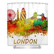London Skyline Watercolor Shower Curtain