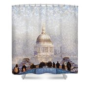 London St Pauls In The Fog Shower Curtain by Pixel  Chimp
