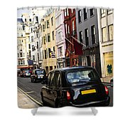 London Taxi On Shopping Street Shower Curtain