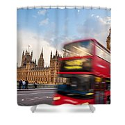 London The Uk Red Bus In Motion And Big Ben Shower Curtain