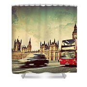 London The Uk Red Bus Taxi Cab In Motion And Big Ben Shower Curtain