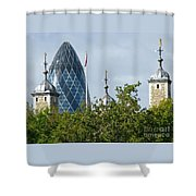 London Towers Shower Curtain by Ann Horn