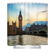 London Uk Big Ben The Palace Of Westminster At Sunset Shower Curtain
