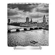 London Uk Big Ben The Palace Of Westminster In Black And White Shower Curtain