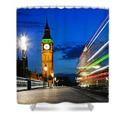 London Uk Red Bus In Motion And Big Ben At Night Shower Curtain