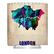 London Watercolor Map 2 Shower Curtain by Naxart Studio