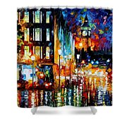 Londons Lights - Palette Knife Oil Painting On Canvas By Leonid Afremov Shower Curtain