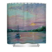 Lone Boat At Sunset Shower Curtain