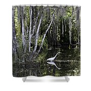 Lone Egret Shower Curtain