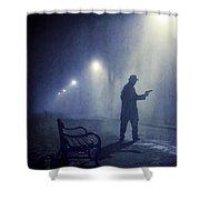 Lone Gunman In Fog At Night Shower Curtain
