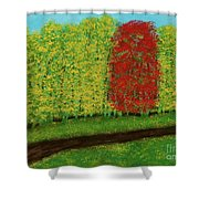 Lone Maple Among The Ashes Shower Curtain