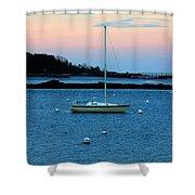 Lone Sailboat At York Maine Shower Curtain