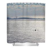 Lone Shrimper Shower Curtain