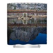 Lone Tourist And  Yosemite Falls Reflection Shower Curtain