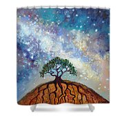 Lone Tree And Milky Way Shower Curtain