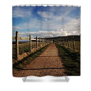 Lone Walker On The North Yorkshire Coastal Path Shower Curtain