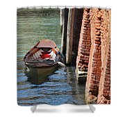 Lonely Boat In Venice Shower Curtain