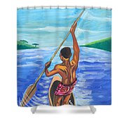 Lonely Boatman In Rwanda Shower Curtain