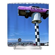 Lonely Diner With Pink Cadillac Shower Curtain