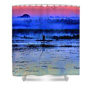 Lonely Fisher Shower Curtain