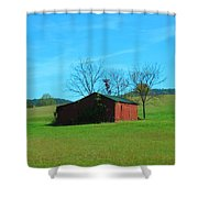 Lonely Hay Bale Shower Curtain