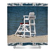 Lonely Lifeguard Station At The End Of Summer Shower Curtain