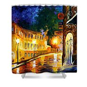 Lonely Night - Palette Knife Oil Painting On Canvas By Leonid Afremov Shower Curtain