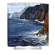 Lonely Schooner Shower Curtain