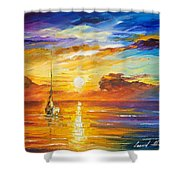 Lonely Sea 2 - Palette Knife Oil Painting On Canvas By Leonid Afremov Shower Curtain