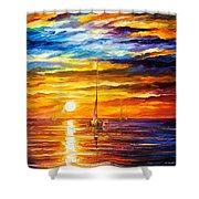 Lonely Sea 3 - Palette Knife Oil Painting On Canvas By Leonid Afremov Shower Curtain