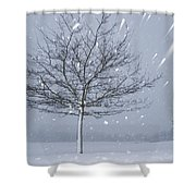 Lonely Tree In Snow Bavaria Shower Curtain